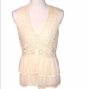 Adiva ruffled cream crocheted overlay vest top